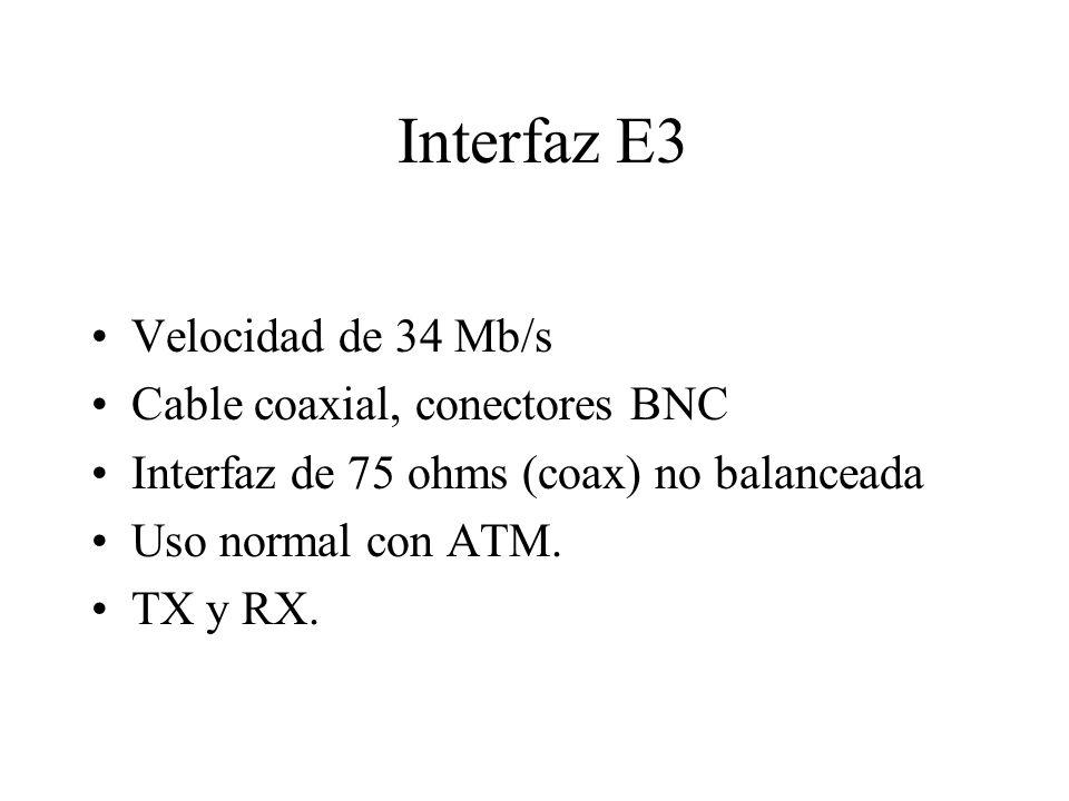 Interfaz E3 Velocidad de 34 Mb/s Cable coaxial, conectores BNC