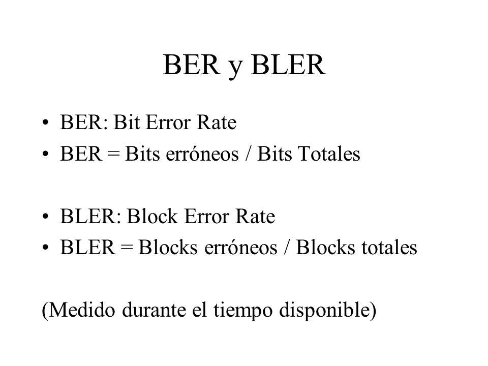 BER y BLER BER: Bit Error Rate BER = Bits erróneos / Bits Totales