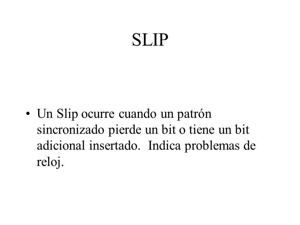 SLIP Un Slip ocurre cuando un patrón sincronizado pierde un bit o tiene un bit adicional insertado.