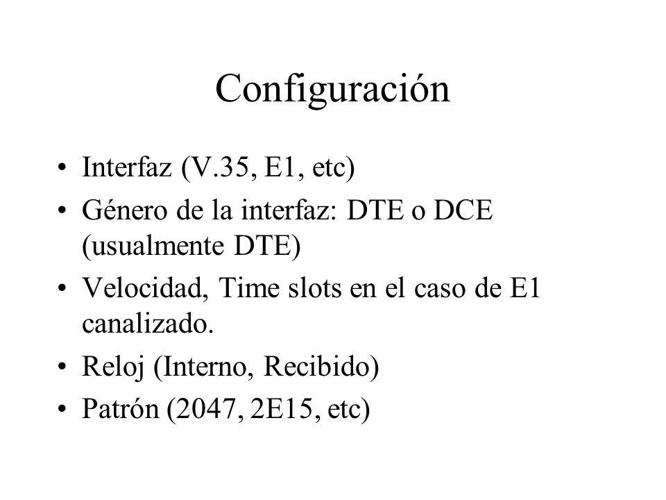 Configuración Interfaz (V.35, E1, etc)