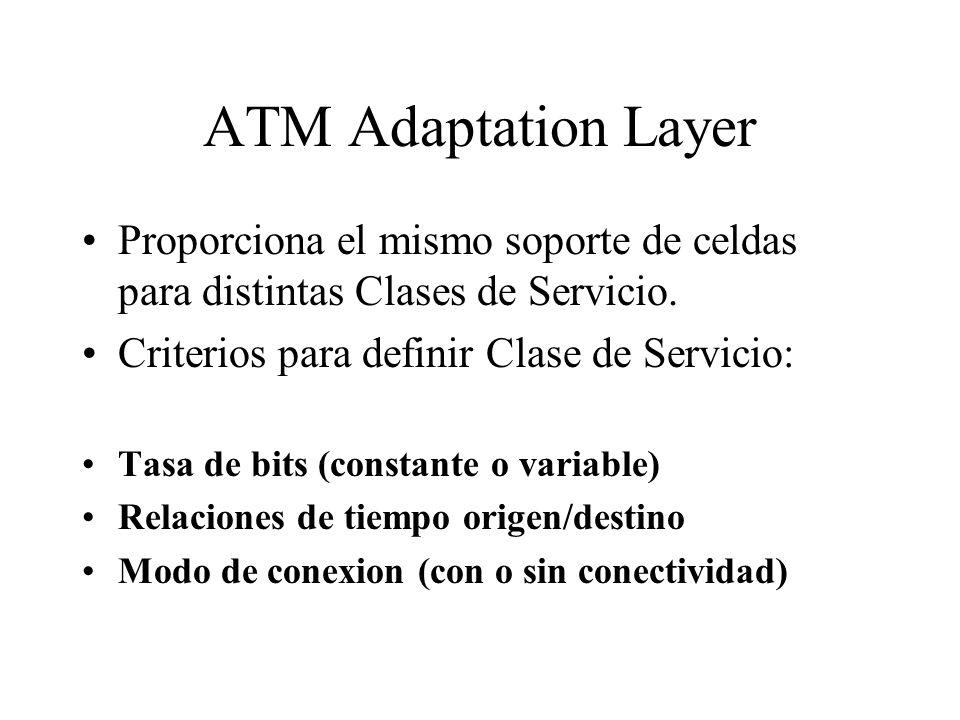 ATM Adaptation LayerProporciona el mismo soporte de celdas para distintas Clases de Servicio. Criterios para definir Clase de Servicio: