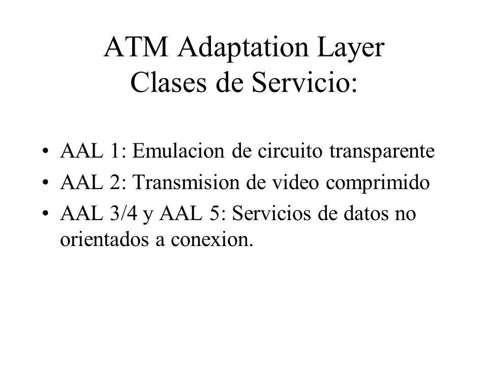 ATM Adaptation Layer Clases de Servicio: