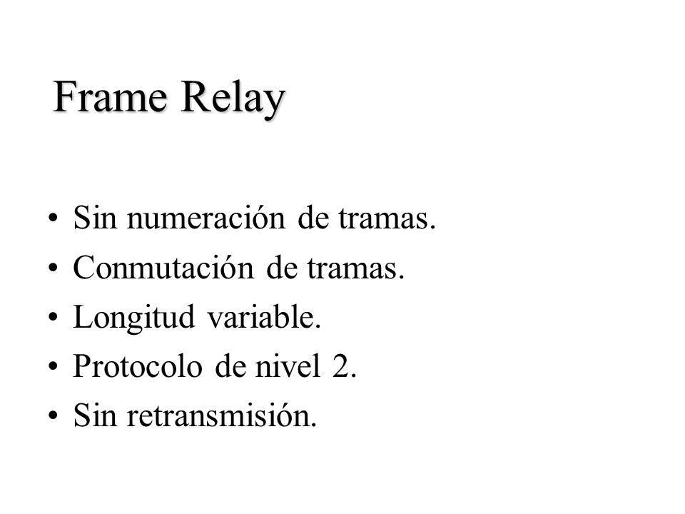 Frame Relay Sin numeración de tramas. Conmutación de tramas.