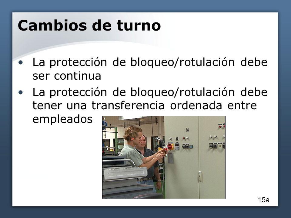 Cambios de turno La protección de bloqueo/rotulación debe ser continua