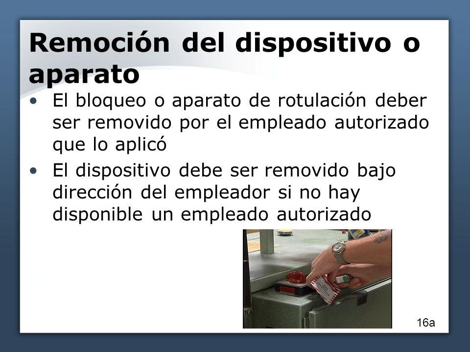Remoción del dispositivo o aparato