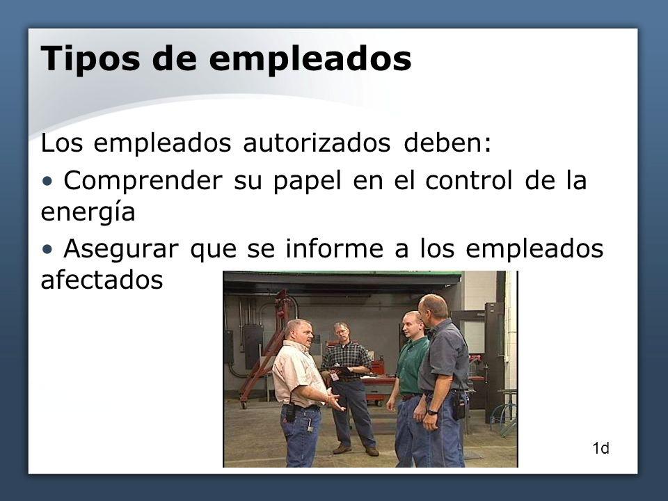 Tipos de empleados Los empleados autorizados deben: