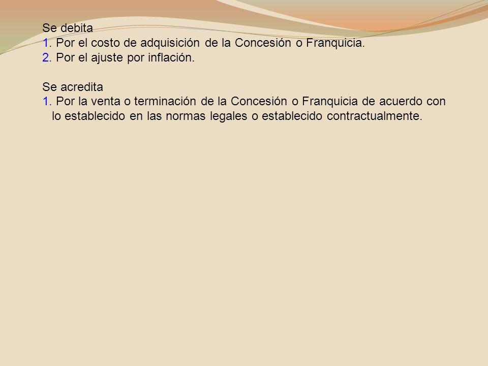 Se debita 1. Por el costo de adquisición de la Concesión o Franquicia. 2. Por el ajuste por inflación.