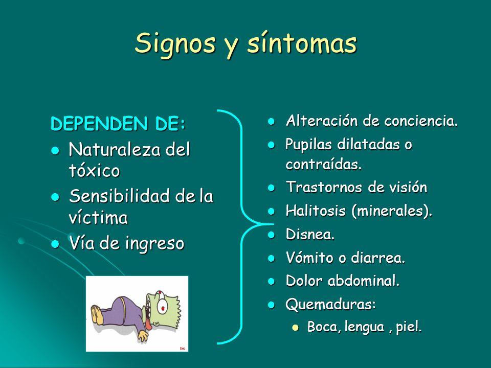 Signos y síntomas DEPENDEN DE: Naturaleza del tóxico