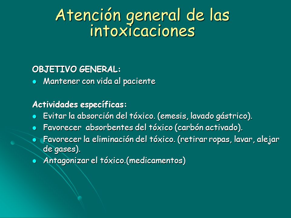 Atención general de las intoxicaciones