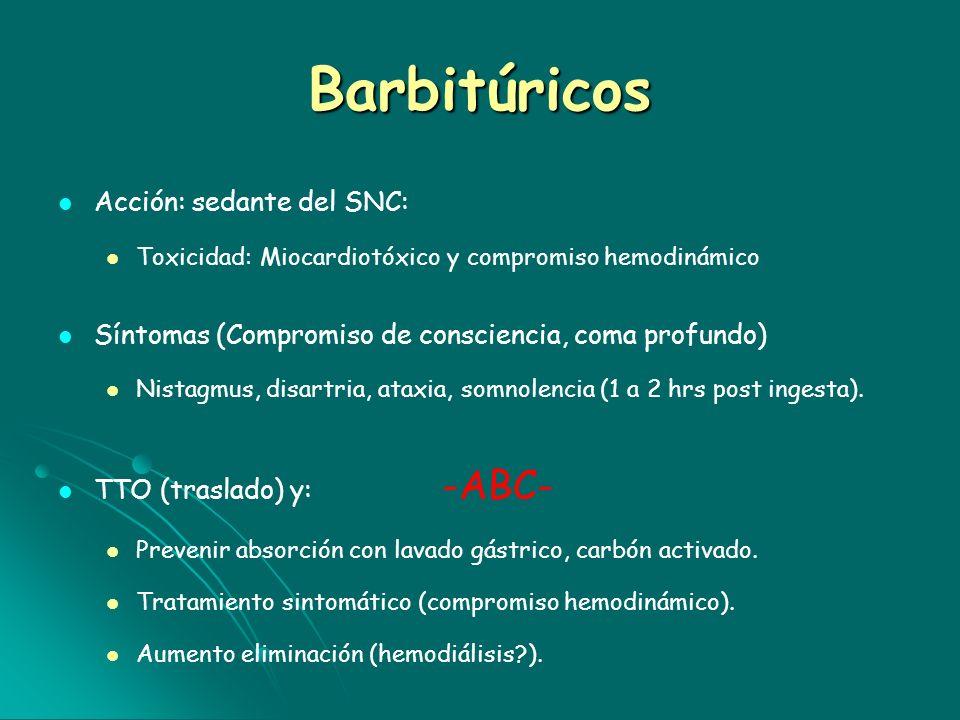 Barbitúricos Acción: sedante del SNC: