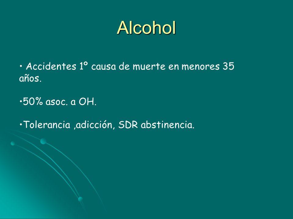 Alcohol Accidentes 1º causa de muerte en menores 35 años.