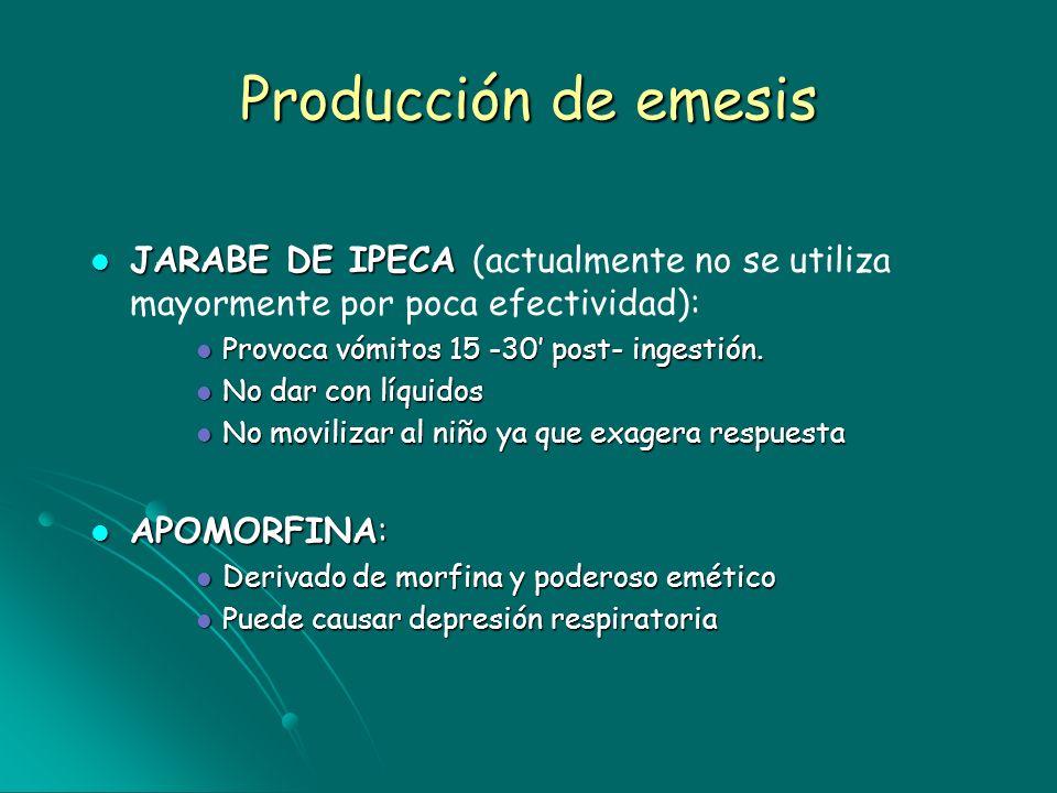 Producción de emesisJARABE DE IPECA (actualmente no se utiliza mayormente por poca efectividad): Provoca vómitos 15 -30' post- ingestión.
