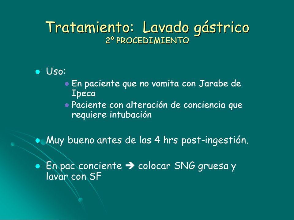 Tratamiento: Lavado gástrico 2º PROCEDIMIENTO