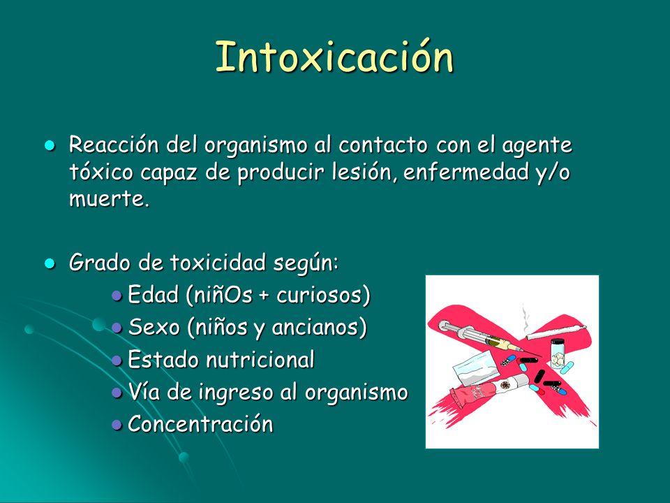 IntoxicaciónReacción del organismo al contacto con el agente tóxico capaz de producir lesión, enfermedad y/o muerte.