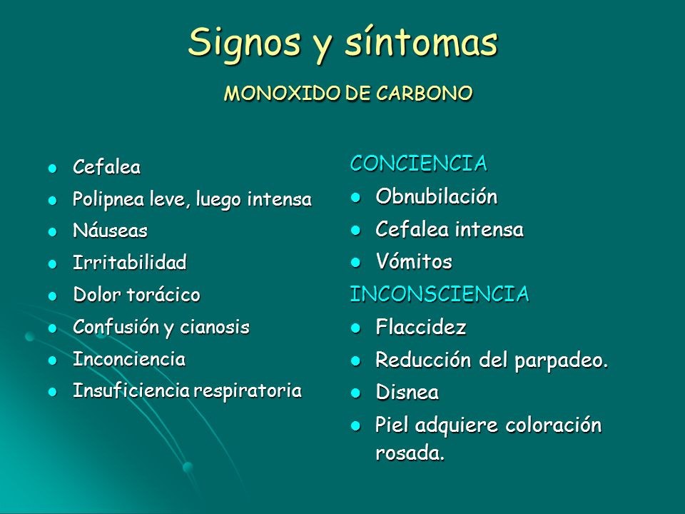 Signos y síntomas MONOXIDO DE CARBONO