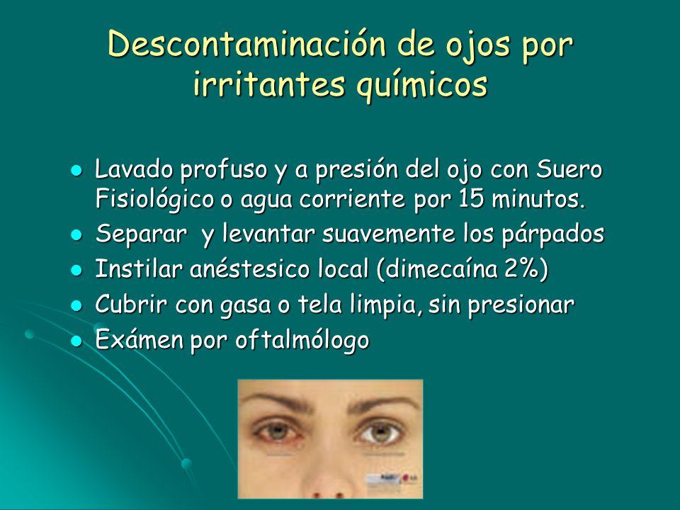 Descontaminación de ojos por irritantes químicos