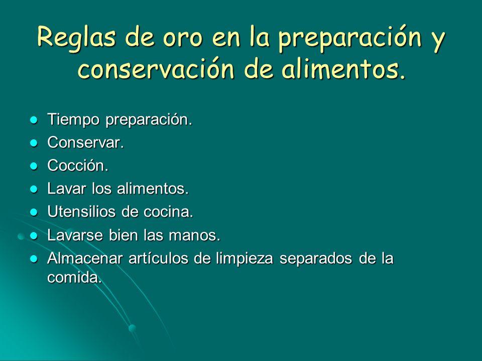 Reglas de oro en la preparación y conservación de alimentos.