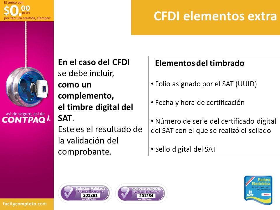 CFDI elementos extra En el caso del CFDI se debe incluir,