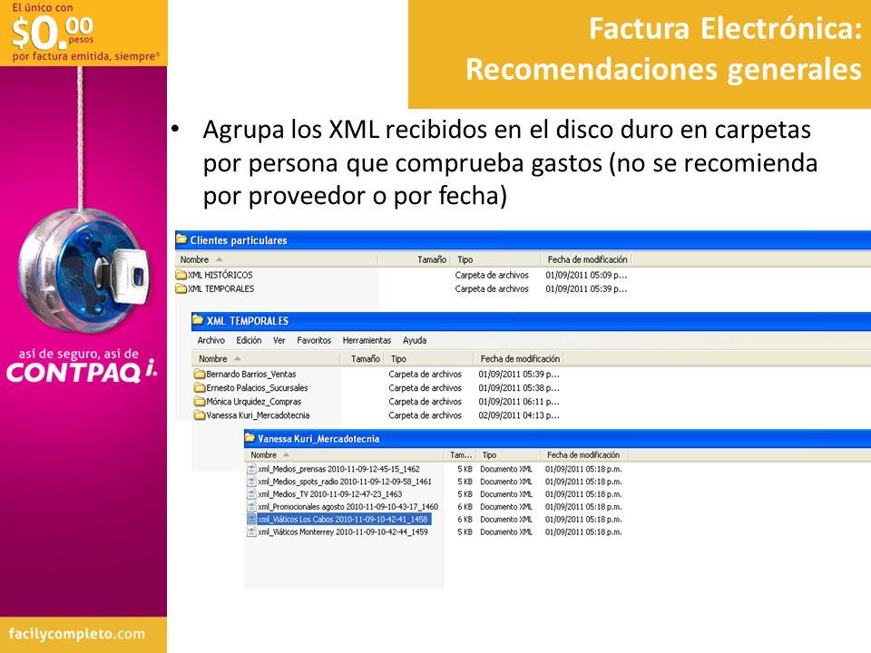 Factura Electrónica: Recomendaciones generales