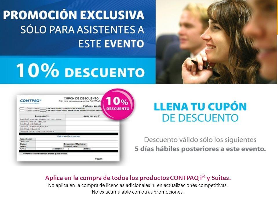 Aplica en la compra de todos los productos CONTPAQ i® y Suites.