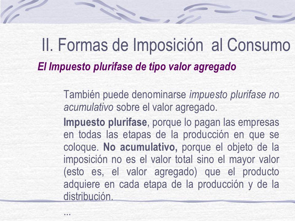 II. Formas de Imposición al Consumo