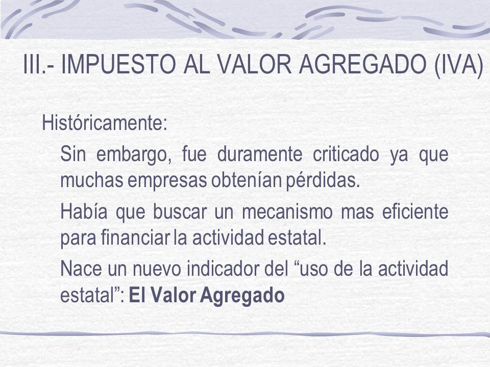 III.- IMPUESTO AL VALOR AGREGADO (IVA)