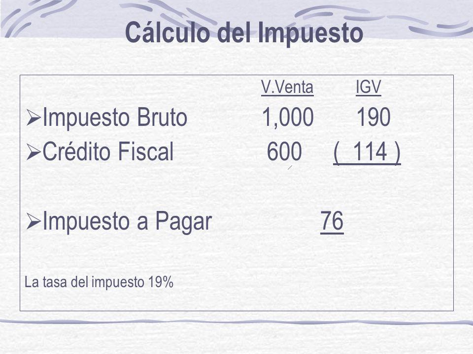 Cálculo del Impuesto Impuesto Bruto 1,000 190