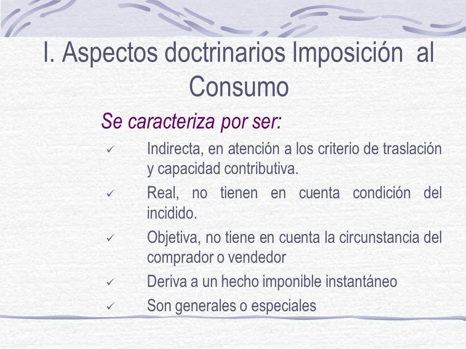 I. Aspectos doctrinarios Imposición al Consumo