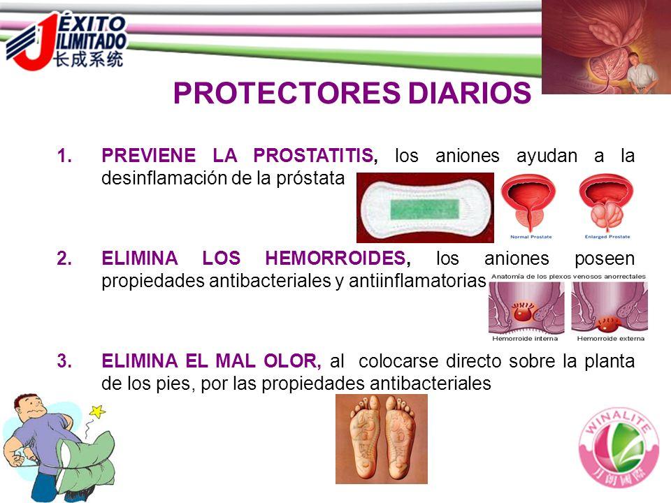 PROTECTORES DIARIOS PREVIENE LA PROSTATITIS, los aniones ayudan a la desinflamación de la próstata.