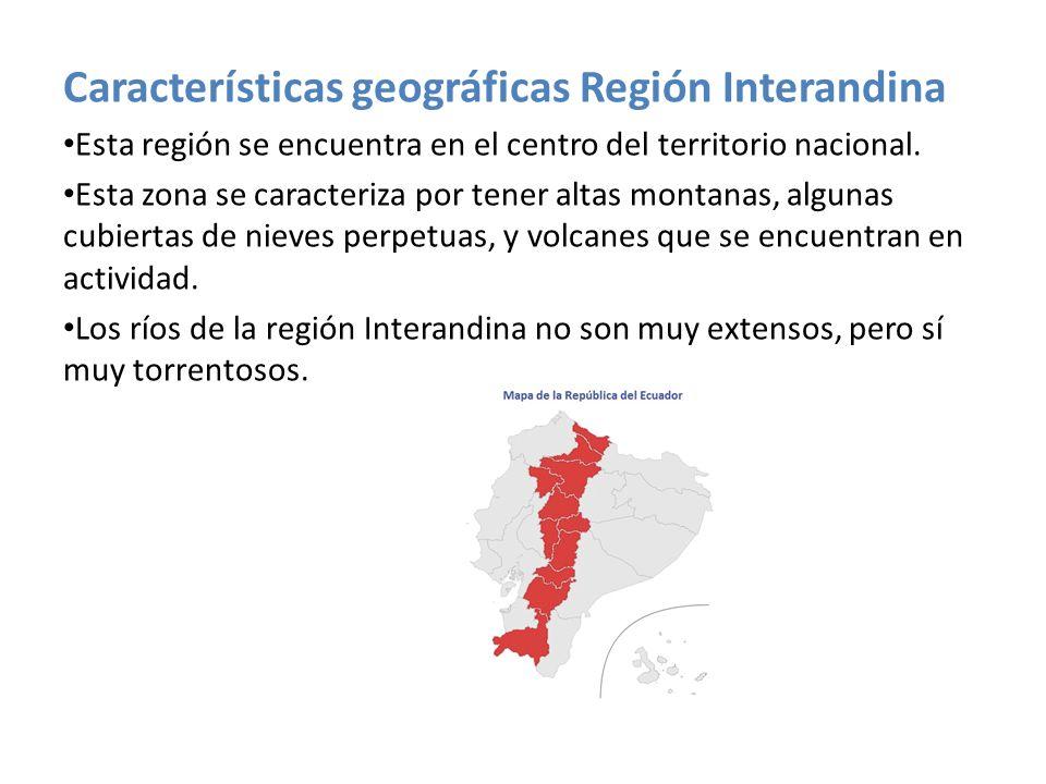 Características geográficas Región Interandina