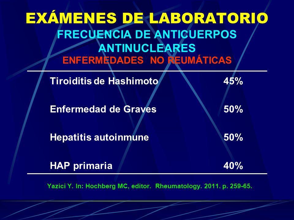 EXÁMENES DE LABORATORIO FRECUENCIA DE ANTICUERPOS ANTINUCLEARES ENFERMEDADES NO REUMÁTICAS