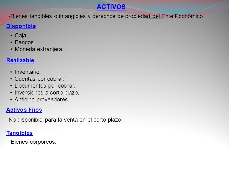 ACTIVOS-Bienes tangibles o intangibles y derechos de propiedad del Ente Económico. Disponible. Caja.