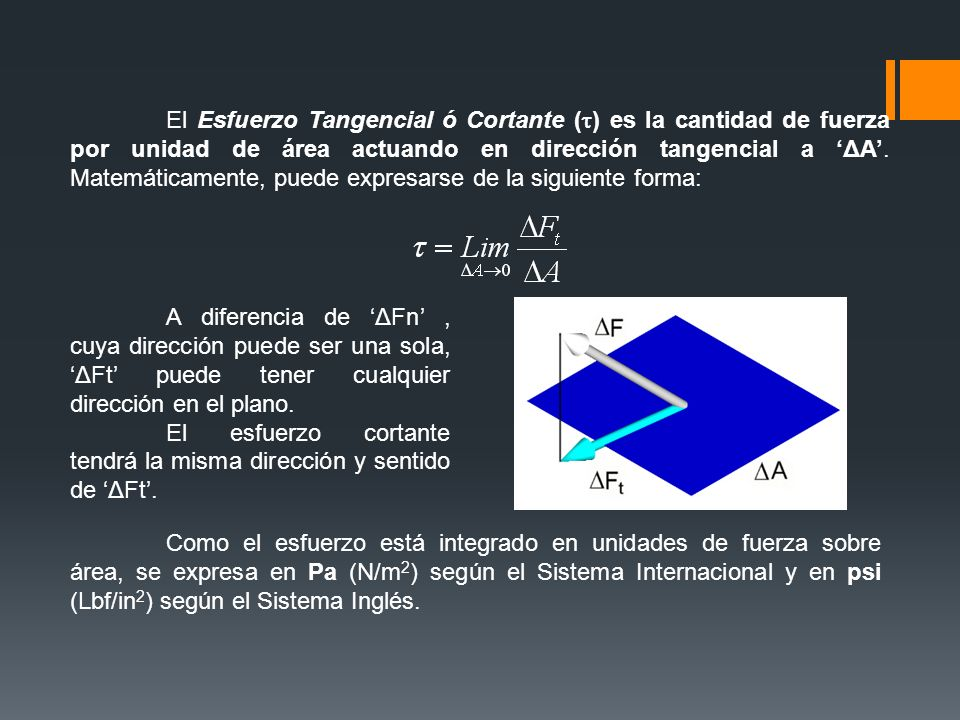 El Esfuerzo Tangencial ó Cortante (t) es la cantidad de fuerza por unidad de área actuando en dirección tangencial a 'ΔA'. Matemáticamente, puede expresarse de la siguiente forma: