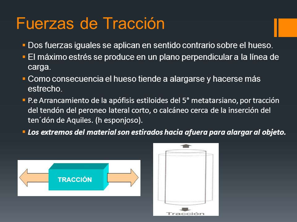 Fuerzas de TracciónDos fuerzas iguales se aplican en sentido contrario sobre el hueso.