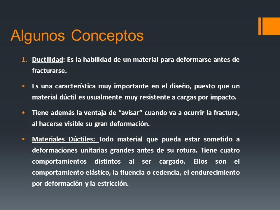 Algunos ConceptosDuctilidad: Es la habilidad de un material para deformarse antes de fracturarse.