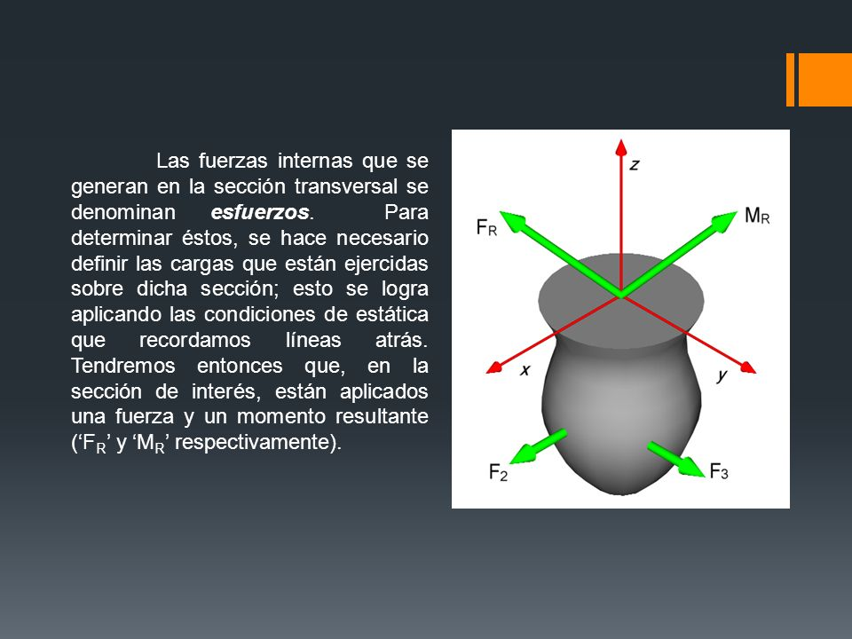 Las fuerzas internas que se generan en la sección transversal se denominan esfuerzos.