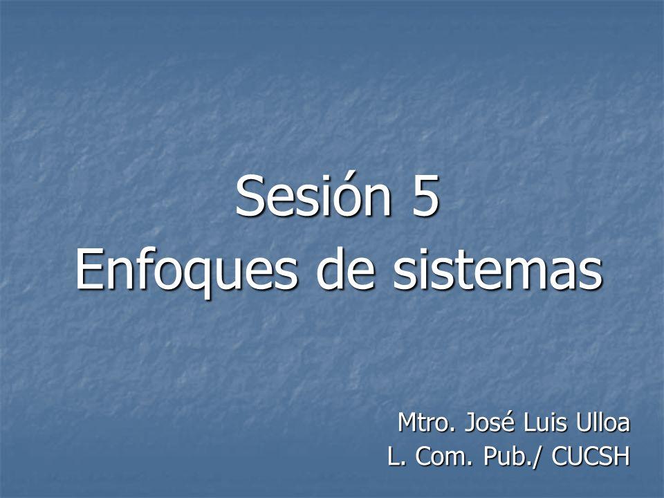 Sesión 5 Enfoques de sistemas Mtro. José Luis Ulloa