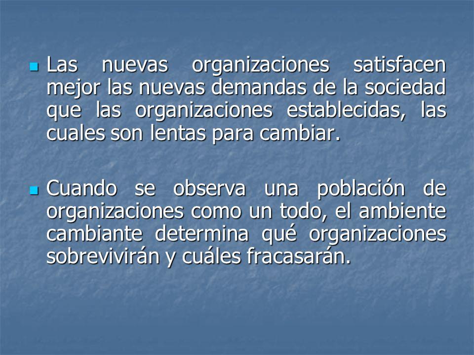 Las nuevas organizaciones satisfacen mejor las nuevas demandas de la sociedad que las organizaciones establecidas, las cuales son lentas para cambiar.