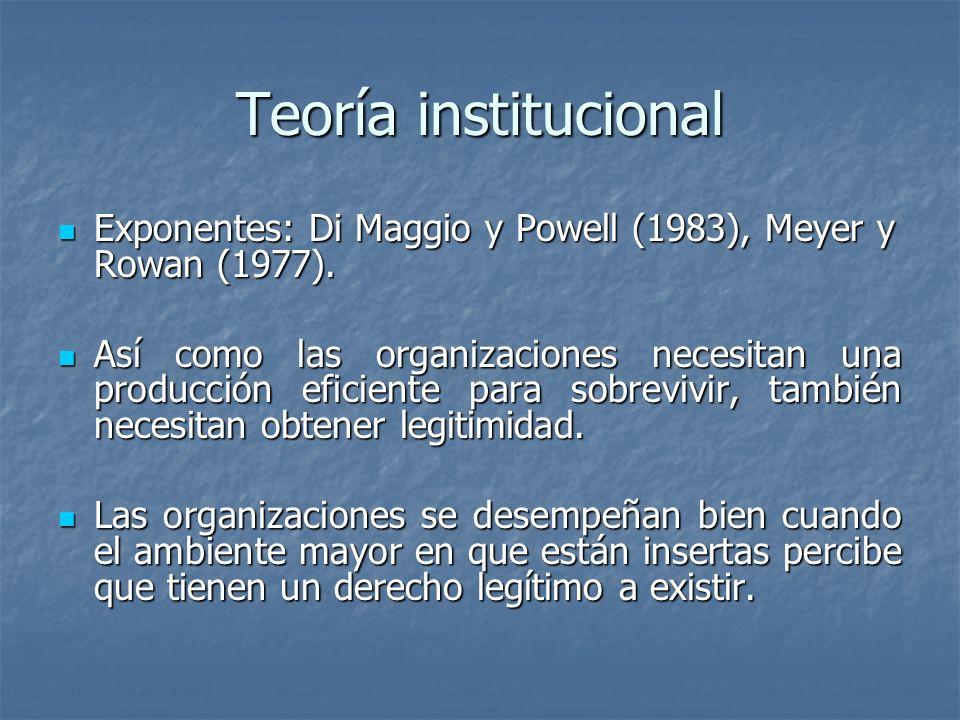 Teoría institucionalExponentes: Di Maggio y Powell (1983), Meyer y Rowan (1977).