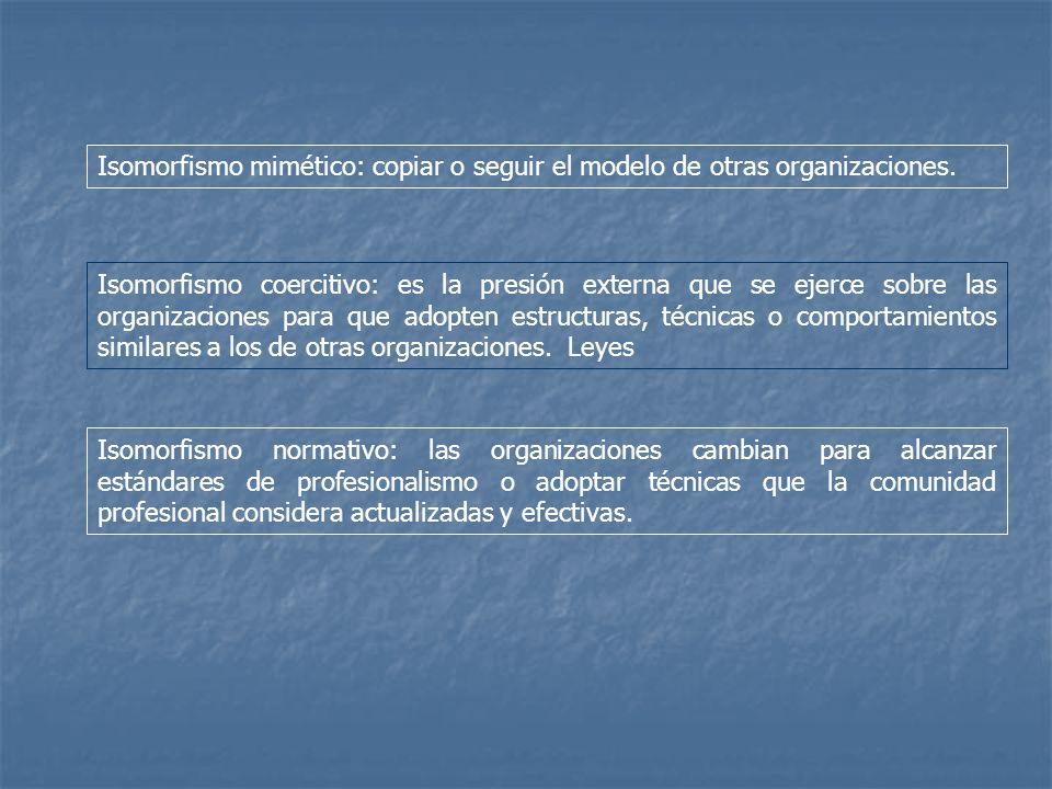 Isomorfismo mimético: copiar o seguir el modelo de otras organizaciones.