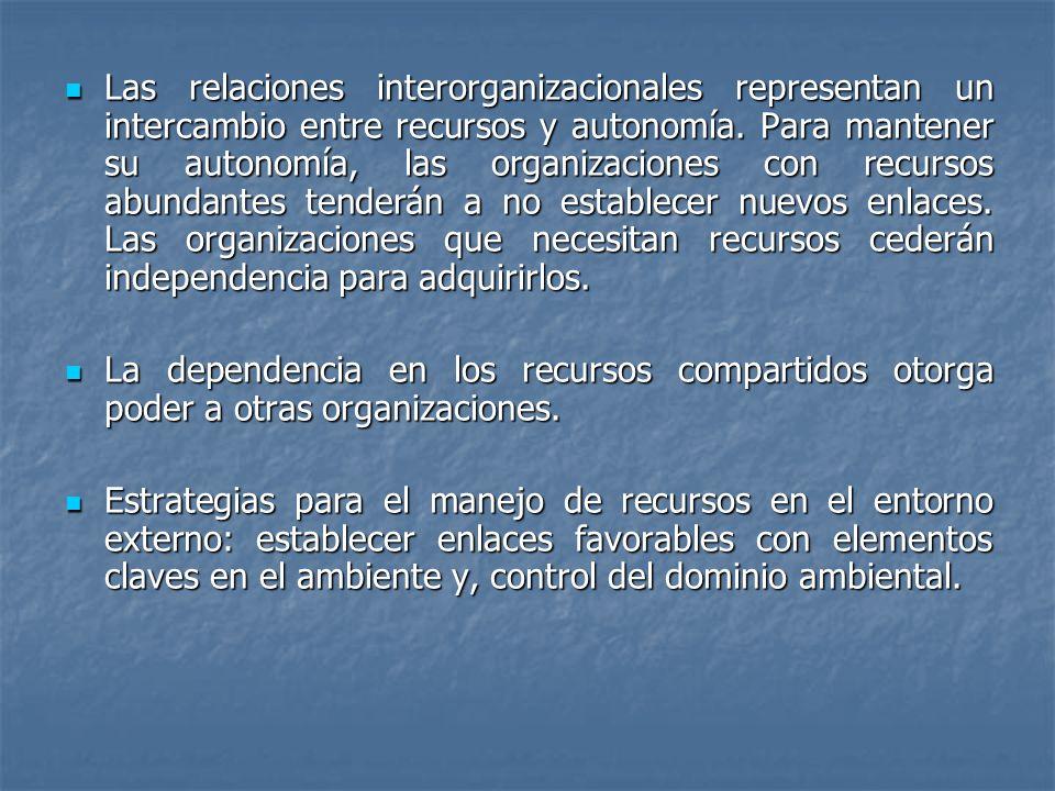 Las relaciones interorganizacionales representan un intercambio entre recursos y autonomía. Para mantener su autonomía, las organizaciones con recursos abundantes tenderán a no establecer nuevos enlaces. Las organizaciones que necesitan recursos cederán independencia para adquirirlos.