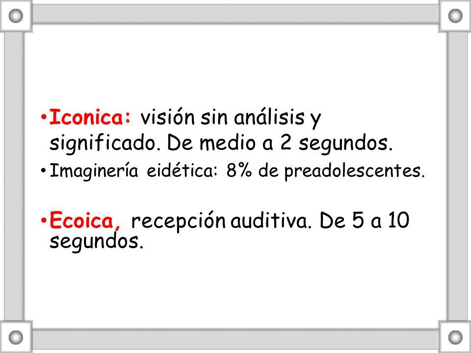 Iconica: visión sin análisis y significado. De medio a 2 segundos.