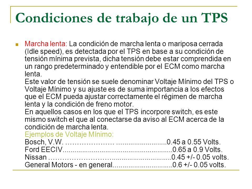 Condiciones de trabajo de un TPS