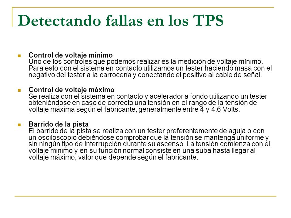 Detectando fallas en los TPS
