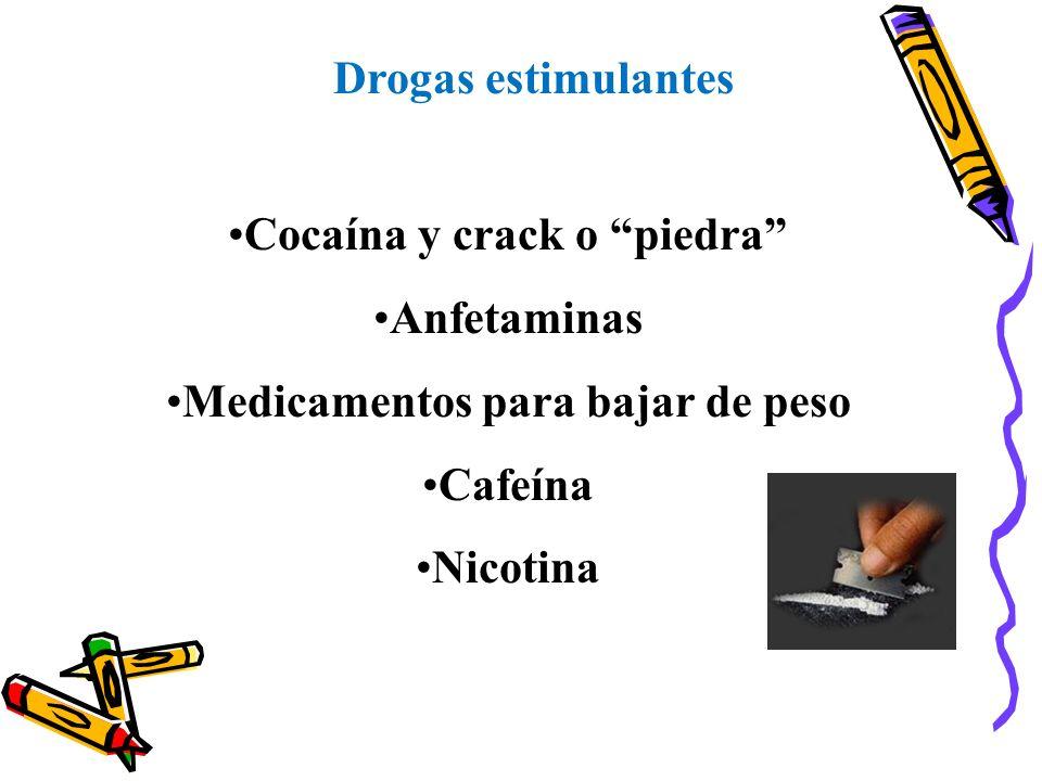 Cocaína y crack o piedra Medicamentos para bajar de peso