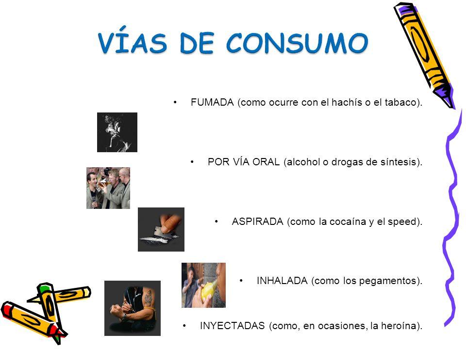 VÍAS DE CONSUMO FUMADA (como ocurre con el hachís o el tabaco).
