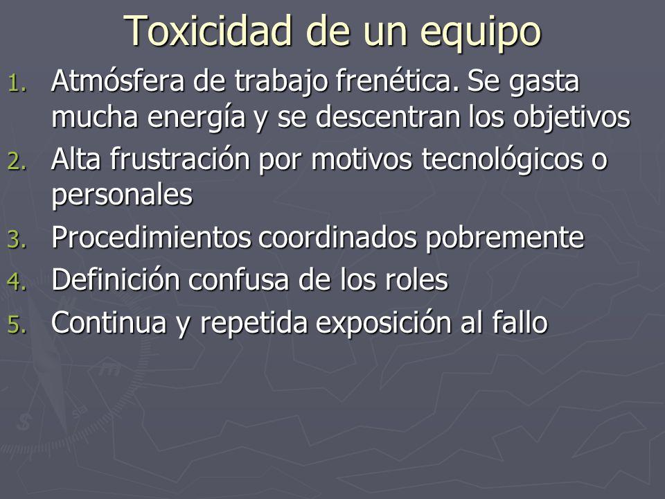Toxicidad de un equipo Atmósfera de trabajo frenética. Se gasta mucha energía y se descentran los objetivos.