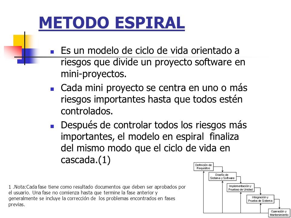 METODO ESPIRAL Es un modelo de ciclo de vida orientado a riesgos que divide un proyecto software en mini-proyectos.