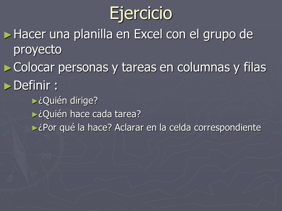 Ejercicio Hacer una planilla en Excel con el grupo de proyecto