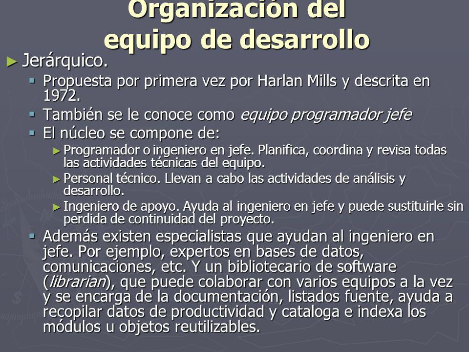 Organización del equipo de desarrollo